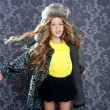Children fashion girl winter leopard coat and fur hat — Stock Photo
