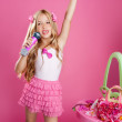 Children little star singer like fashion doll with mic — Stock Photo #6217573