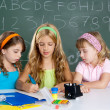 Kids group of student girls at school classroom — Stock Photo #6219216