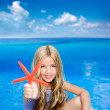 Children blond girl in summer vacation tropical beach — Stock Photo #6219827