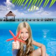 Children blond girl in summer vacation tropical beach — Stock Photo #6219941