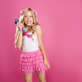Children little star singer like fashion doll with mic — Stock Photo