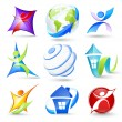 Collection of colour icons — Stock Vector