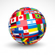 World flags sphere. — Stock Vector