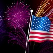 Fireworks and American Flag. Vector. - Stock Vector