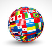 Svět vlajek koule. — Stock vektor