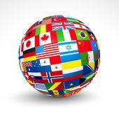 Vlaggen van de wereld bol. — Stockvector