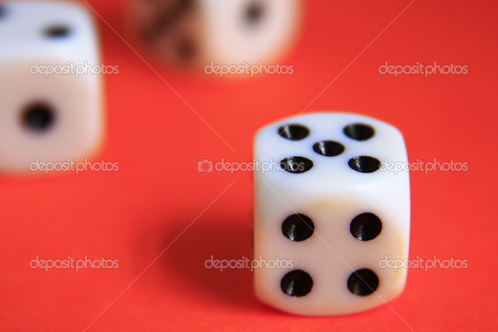 Game of dice on red background — Stock Photo #6294103