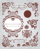 Set of floral vintage elements — Stock Vector