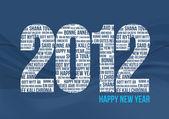 Feliz año nuevo 2012 - azul — Vector de stock