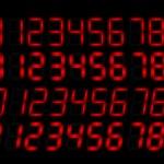 Clock radio red numbers — Stock Vector