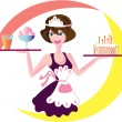 Stock Vector: Waitress