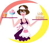 Waitress — Stock Vector