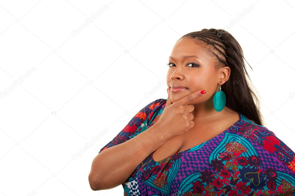 Portrait of a young beautiful black woman thinking, isolated on white background — Stock Photo #5518998