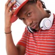 Young black man with headphones — Stock Photo