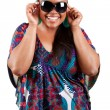 Stock Photo: Beautiful black woman wearing sunglasses