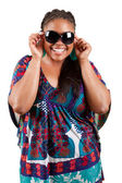 Beautiful black woman wearing sunglasses — Stock Photo