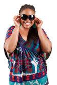 Beautiful black woman wearing sunglasses — Stock Photo