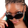 Stock Photo: Young black woman in sunglasses glamour portrait