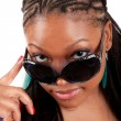 Young black woman in sunglasses glamour portrait — Stock Photo