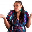 Stock Photo: Young African American woman hesitating