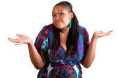 Young African American woman hesitating — Stock Photo