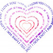 "A heart made of words ""I love you"" — Stockfoto"