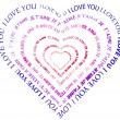 "Stock Photo: A heart made of words ""I love you"""
