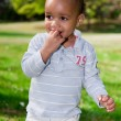 Portrait of baby boy playing  in the park - Stock Photo