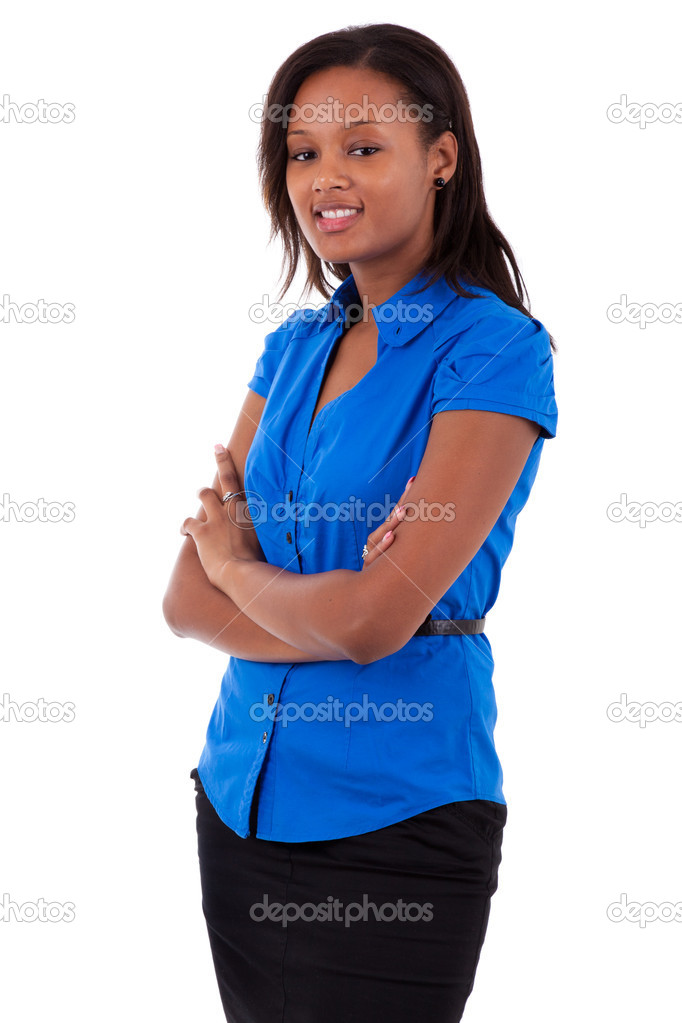 Smiling african american business woman with folded arms, isolated on white background  Stock Photo #6632419