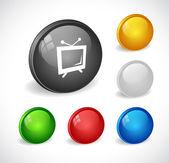 Cor botões 3d para web. — Vetor de Stock