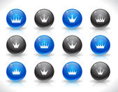 Buttons for web with crowns. — Stock Vector