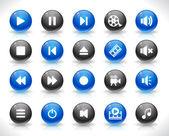 Set di pulsanti multimediali — Vettoriale Stock