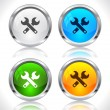 Metal web buttons. Vector eps10. - Stock Vector