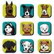 Dog icon set - Stockvektor