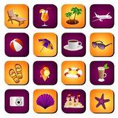 Conjunto de iconos de playa — Vector de stock