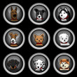 Vettoriale Stock : Dogs icons