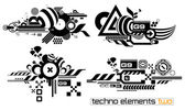 Techno elemetnts set two — Stock Vector