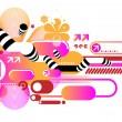 Pink techno composition — Stock Vector