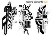 Techno elemetnts set five — Stock Vector