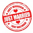 Just married stamp — Stockvectorbeeld