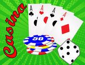 Various gambling and casino elements, vector illustration — Stock Vector