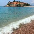 Sveti Stefan (St. Stefan) island-resort in Adriatic sea, Montene - Stock Photo
