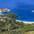 Sveti Stefan (St. Stefan) island-resort in Adriatic sea - Stock Photo