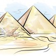 Vector de stock : Drawing color piramids and desert in Giza, Egypt