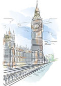 Big Ben of Tower in London — Vector de stock