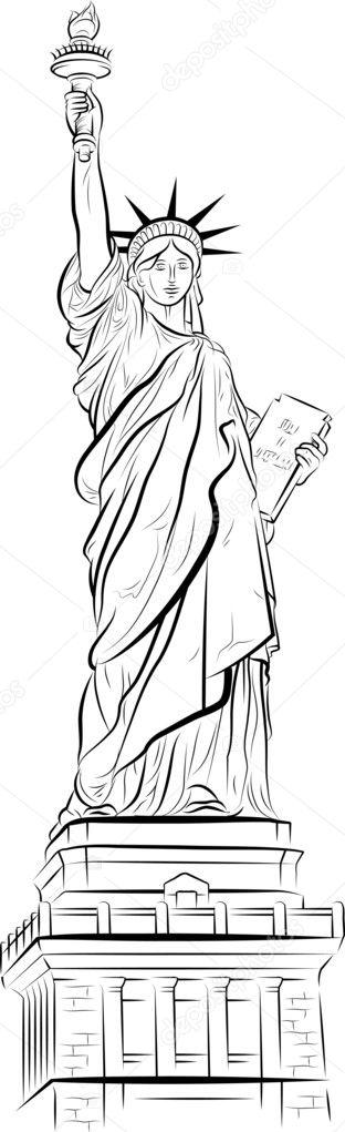 Dessin de statue de la libertu00e9 u00e0 new york, u00e9.-u. u2013 Illustration