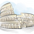 Drawing color Colosseum, Rome, Italy - Stock Vector