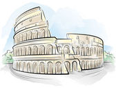 Drawing color Colosseum, Rome, Italy — Stock Vector