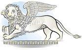 рисунок цвета лев с крыльями - символ венеции, италия — Cтоковый вектор